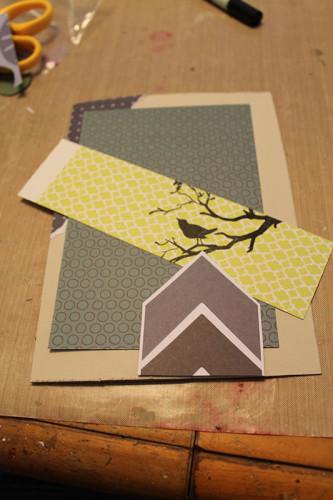 4069 Better bird stamp on green paper