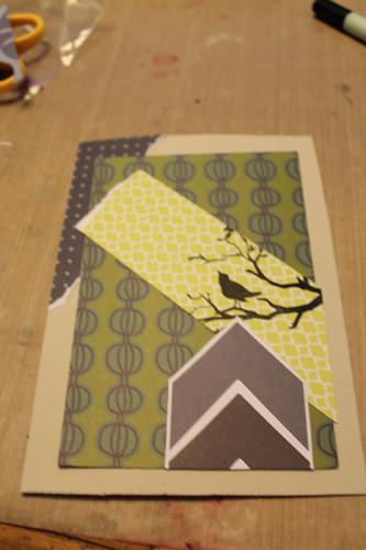 4071 Green bird on new background paper