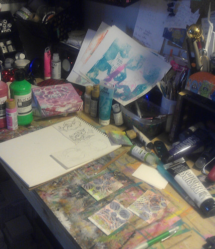 On the table last weekend.  Same stack of gelli prints.