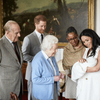 Prince Philip, Prince Harry, Queen Elizabeth II, Doria Ragland, Duchess Meghan, Archie Harrison Mountbatten-Windsor