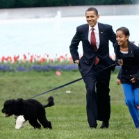 Barack Obama, Malia Obama, Sasha Obama, Bo the dog