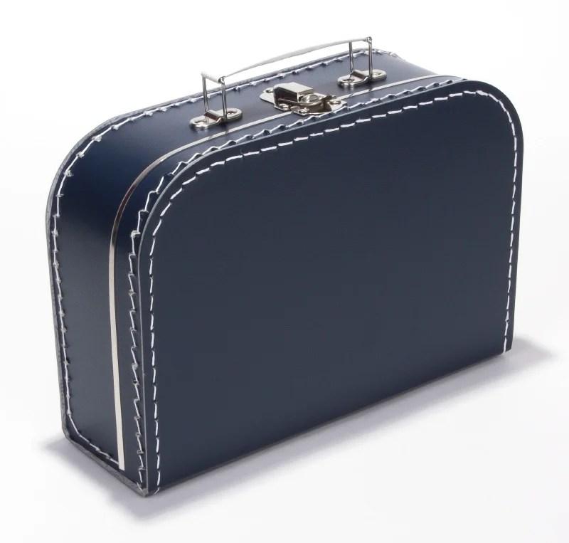 Kinderkoffertje donker blauw met bedrukking