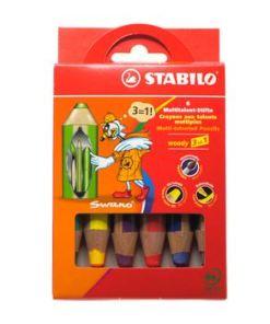 Stabilo- Woody, 6 stuks