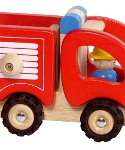 Brandweer auto van Goki, brandweerauto houten speelgoed -wonderzolder.nl