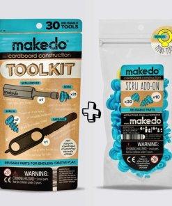 Toolkit + extra schroeven set makedo- complete set om te bouwen -wonderzolder.nl