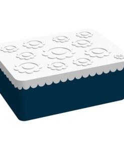 Lunchbox groot bloemen blauw / wit Blafre, 3 vaks broodtrommel -wonderzolder.nl