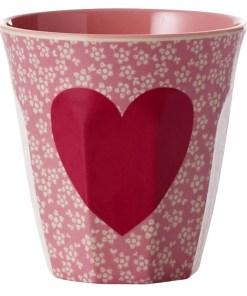 Melamine cup Heart Print, RICE, Hartjes -wonderzolder.nl
