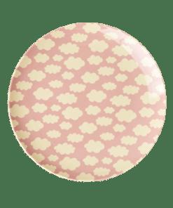 Lunch plate pink Cloud plate - roze wolken bord RICE -wonderzolder.nl