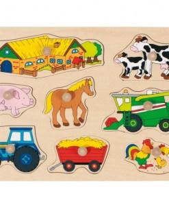 puzzel boerderij goki, farm, houten puzzel, wonderzolder.nl
