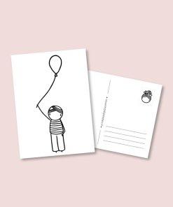 kaart ballon jongen, feest, verjaardag, irmadammekes, wonderzolder.nl