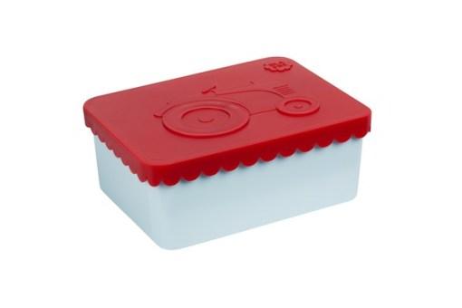 Lunchbox klein trekker rood / lichtblauw Blafre, broodtrommel met 1 vak -wonderzolder.nl