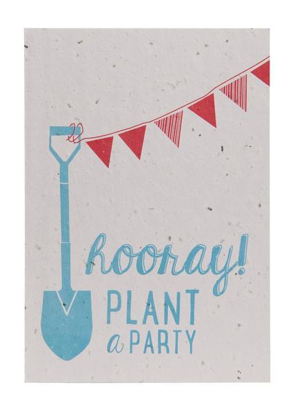 Hooray plant a party groeikaart, kaart met bloemen, Niko Niko, feest, wonderzolder.nl