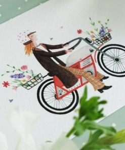 Kaart bloemen op de brommer, carmens tekentafel, veldboeket, wonderzolder.nl