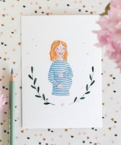 kaart zwanger, carmens tekentafel, wonderzolder.nl