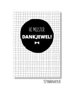 bedankt meester, kaartje, einde schooljaar, miekinvorm, wonderzolder.nl