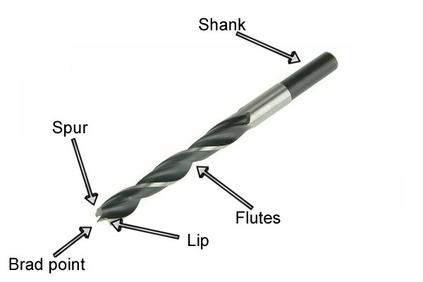 What are the parts of a brad point bit?