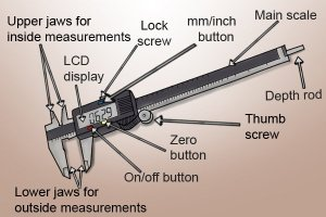 What are the parts of a digital caliper?