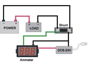 Mini Digital Ammeter 050A with Shunt 50A DC Slim Digital