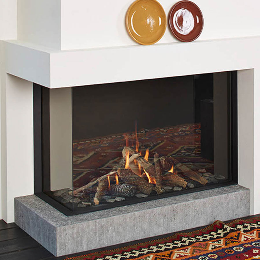 LINEAFIRE Fireplaces Corner 100 Left Wood and Gas  Fireplaces  Cheminee  Stones  Lebanon