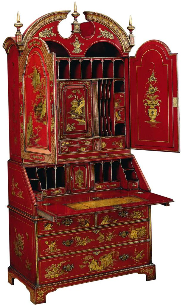 Queen Anne Style Lacquered Bureau Bookcase
