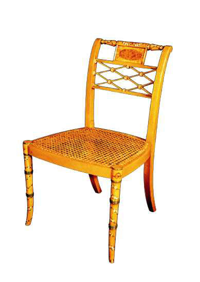 Sheraton Style Satinwood Decorated Chair.