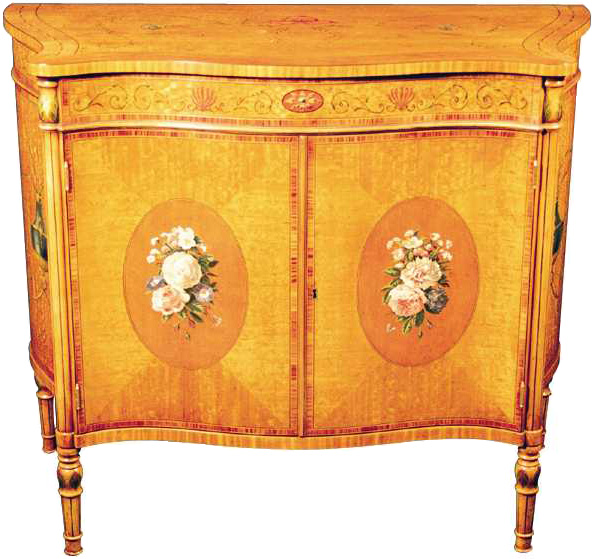 Satinwood Decorated Commode