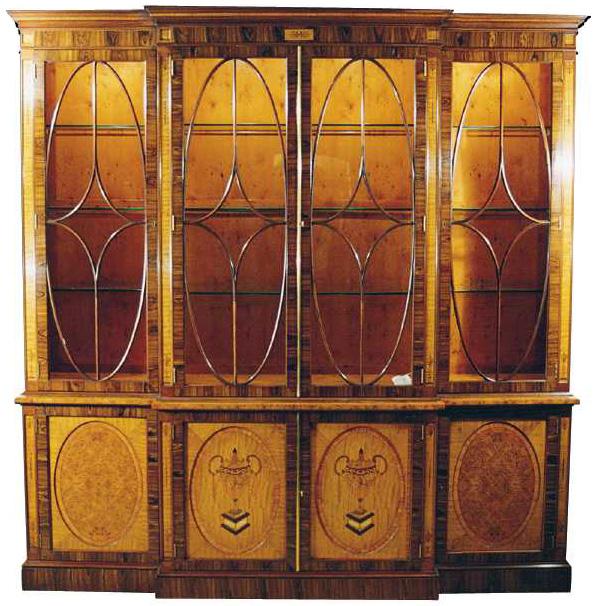 Rosewood Regency Style Breakfront Bookcase