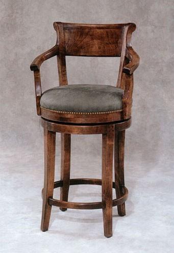 English Sabre-Leg Upholstered Barstool