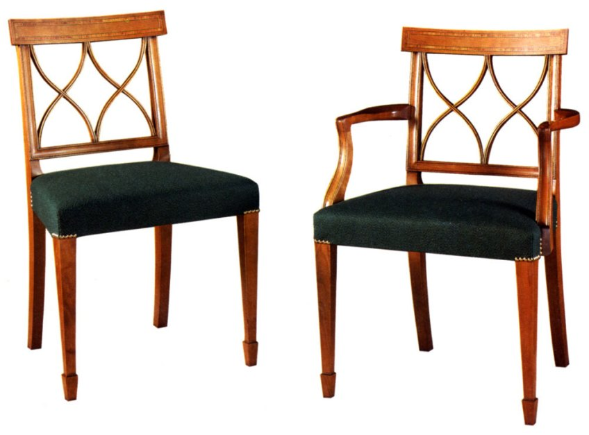 Sheraton Style Fruitwood Inlaid Dining Chair.