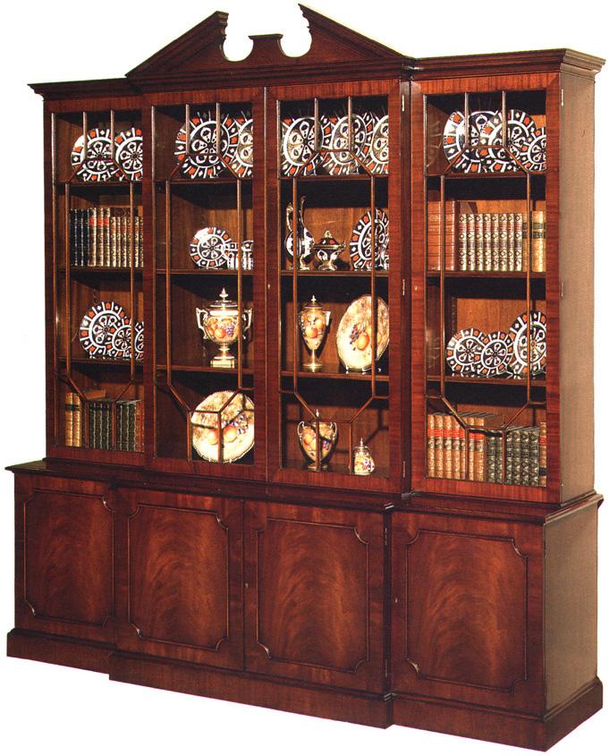 Mahogany Georgian Style Breakfront Bookcase