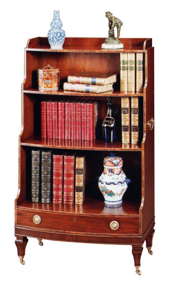Hepplewhite Style Mahogany Bow Shaped Open Bookshelf.