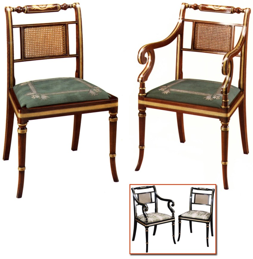 Regency Style Faux Rosewood Chair.