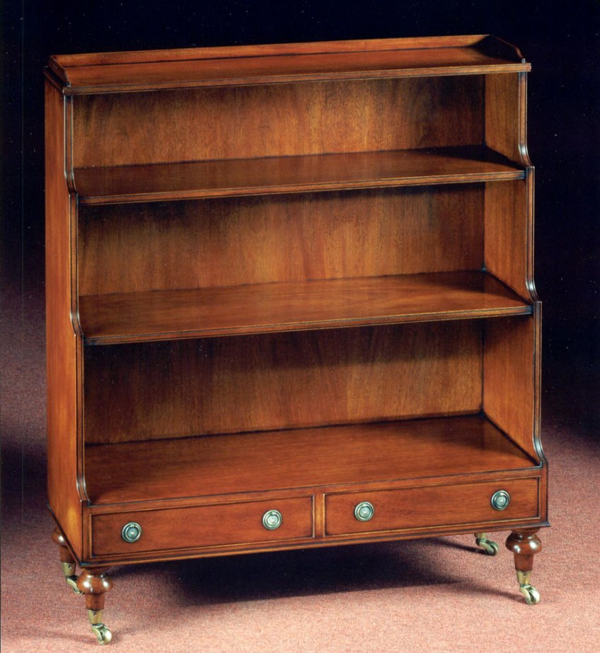 Mahogany Waterfall Open Bookshelf.
