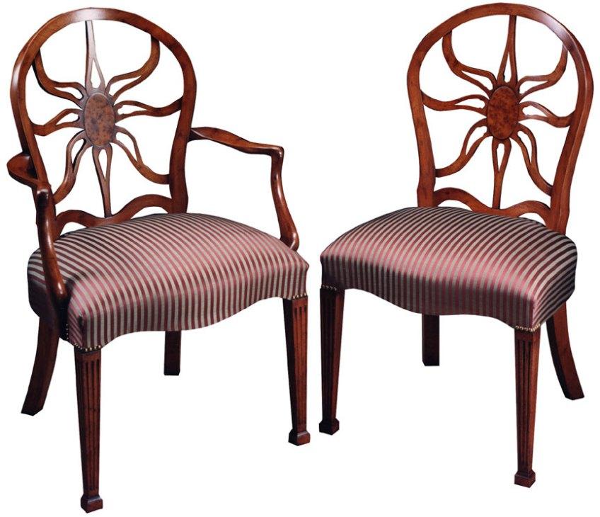Mahogany George III Style 'Sun Burst' Chairs.