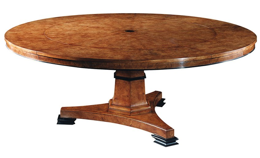 Regency Style Burr Walnut Extending Circular Table.