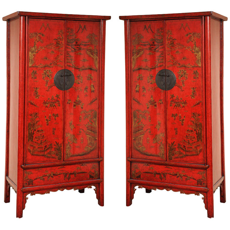 Pair of 19th C. Decorated Red Lacquered Chinese Cabinets