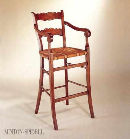 French Rush Seat Barstool