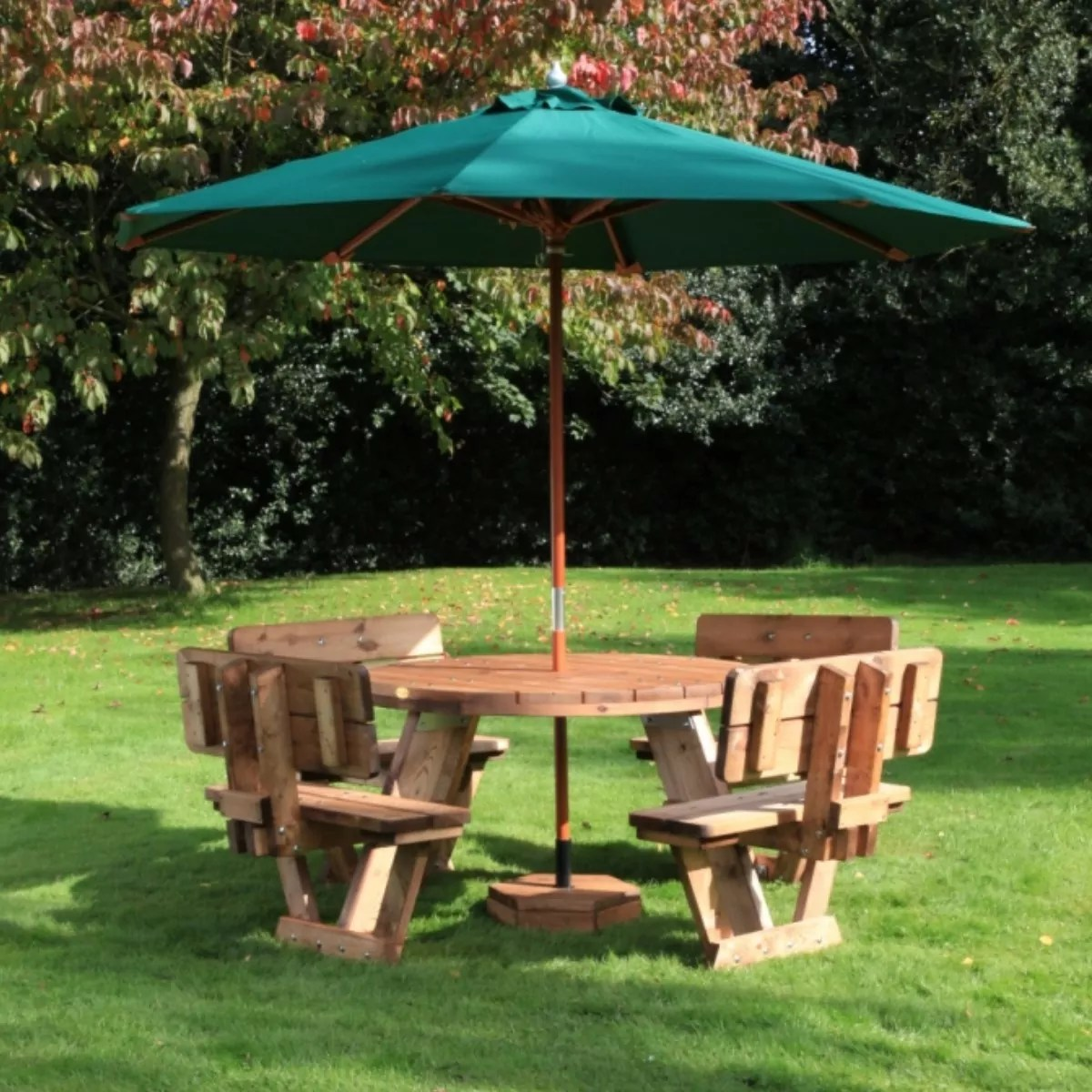 circular 8 seater wooden picnic table with backrests