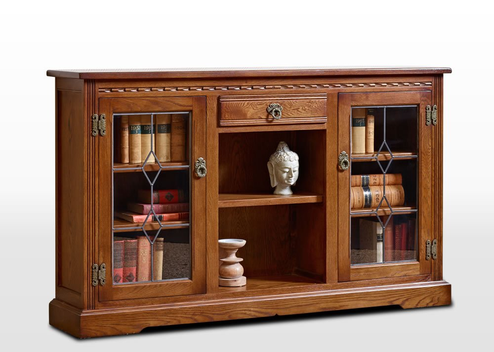 Old Charm Low Bookcase With Leadlight Doors Wood Bros
