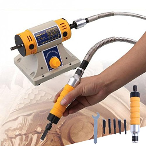 Electric Power Wood Chisel Carving Tool Attachment with Wrench Shaft Blades
