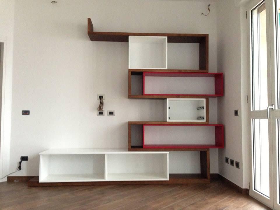 Soggiorno Castagno Rosso e Bianco Lucido  Wood Design Milano