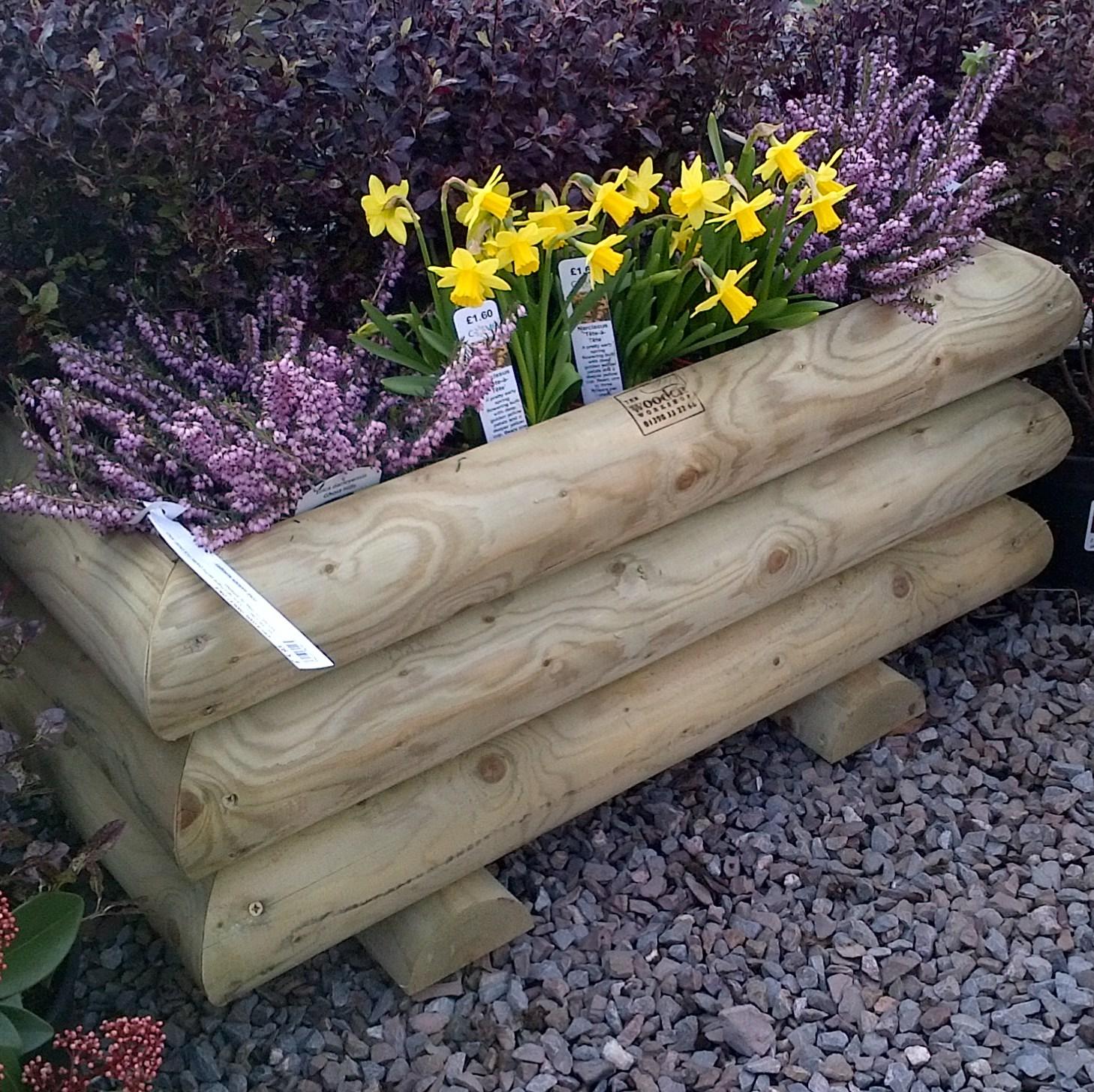 Garden Log Planter  Large  The Wooden Workshop  Oakford