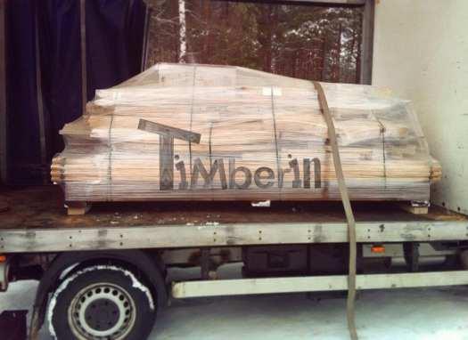 Non Assembled Barrel Sauna In The Truck