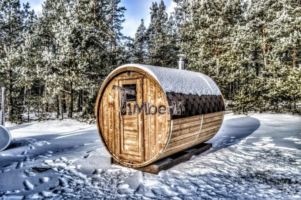 Outdoor-garden-wooden-sauna-in-winter Finished projects