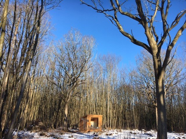Rectangular-wooden-outdoor-sauna-Linda-Goudhurst-U.K. Rectangular wooden outdoor sauna, Linda, Goudhurst, U.K.