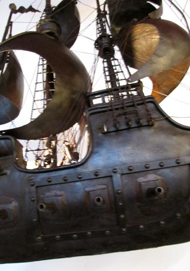 Rare Metal Sailing Ship Light  Wooden Nickel Antiques