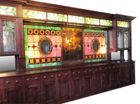 Stained Glass Back Bar - Wooden Nickel Antiques