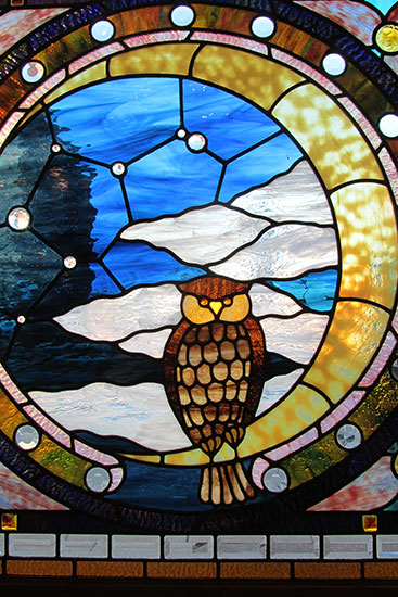 Stained Glass Owl Window  Wooden Nickel Antiques