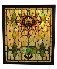 Large Stained Glass Window With 50 Amber Jewels - Wooden ...