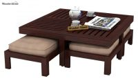 Buy Dallas Coffee Table With Stools (Mahogany Finish